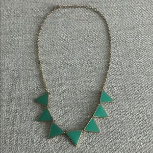 Gold teal triangle statement necklace